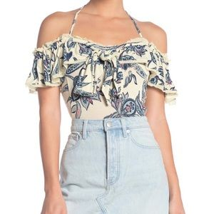 Free People Cha Cha Cold Shoulder Top Printed XS